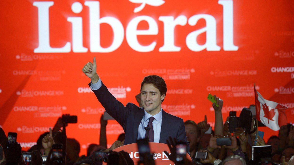 Justin Trudeau en campagne électorale.