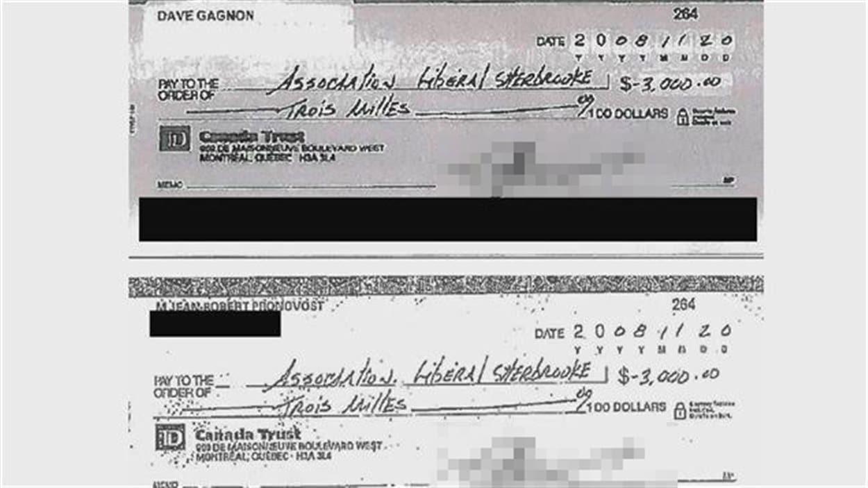 En haut, le chèque altéré pour qu'on y voit le nom de Dave Gagnon; en bas, le chèque original, fait par Jean-Robert Pronovost