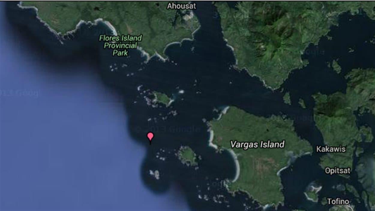 En rouge, îlot Cleland, surnommé Bare Island, site du naufrage