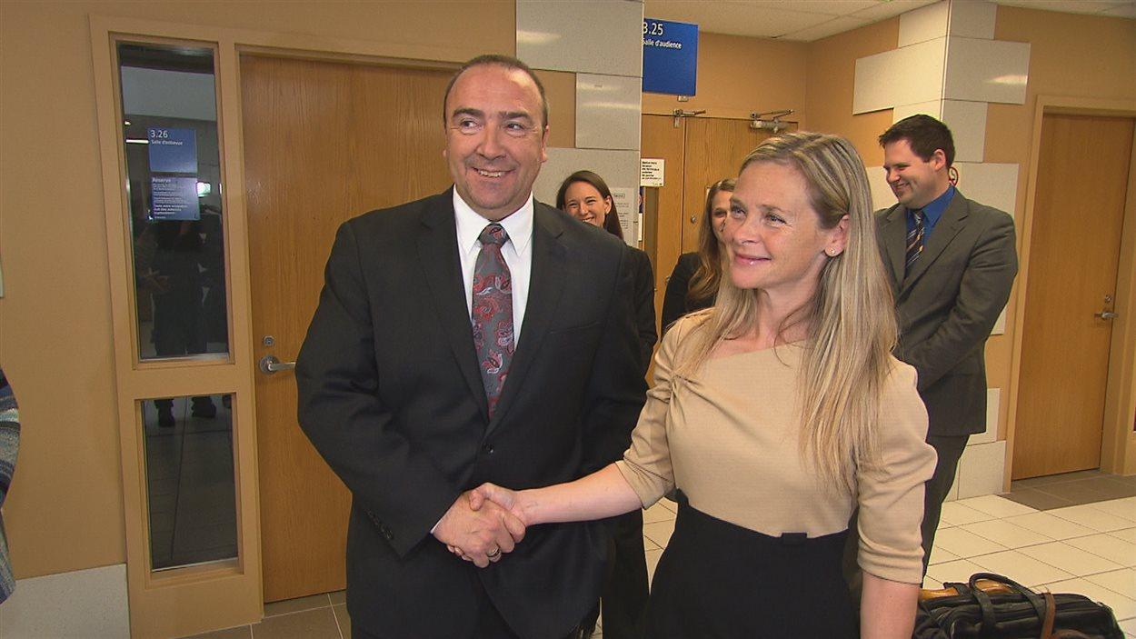 Bernard Généreux et Marie-Josée Normand après le dépouillement judiciaire dans Montmagny-L'Islet-Kamouraska-Rivière-du-Loup.