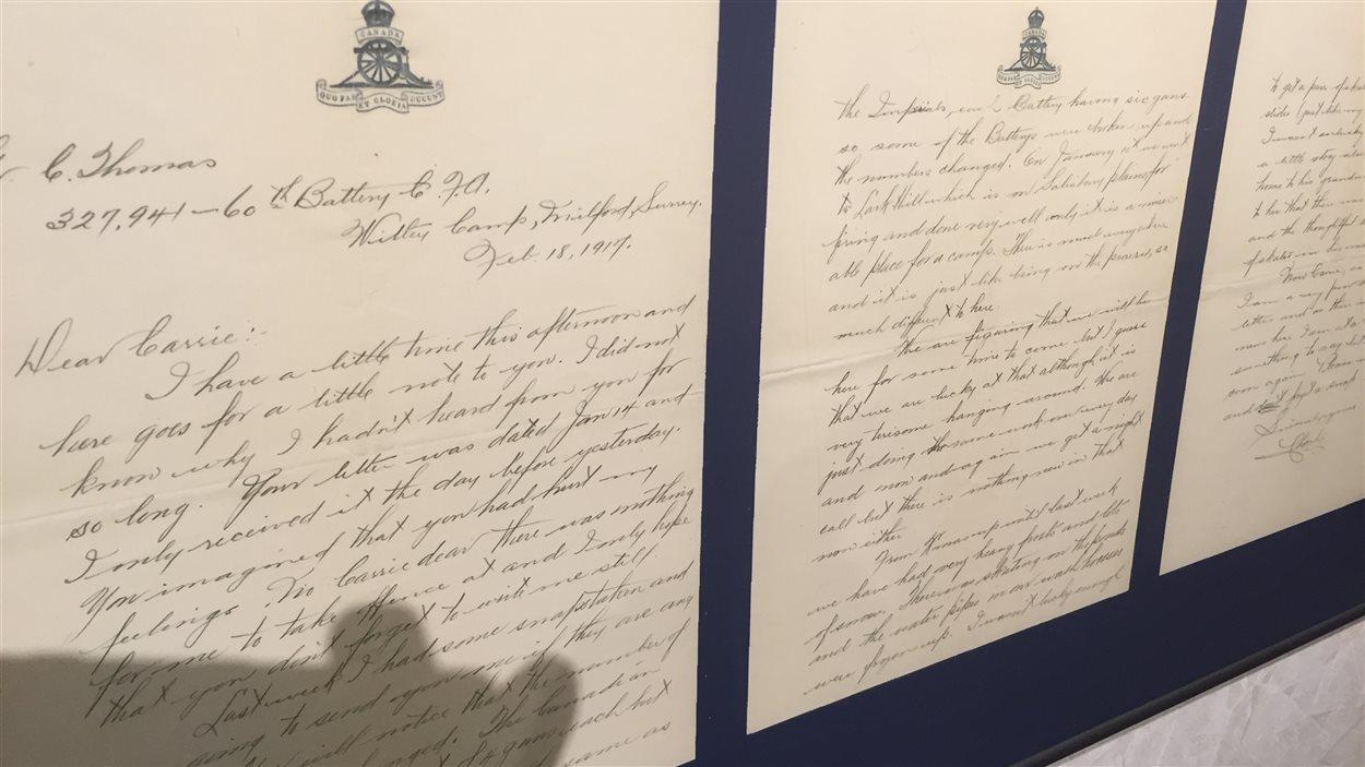 Les lettres de correspondances de George Battershill et Carrie Elliot datant de 1917.