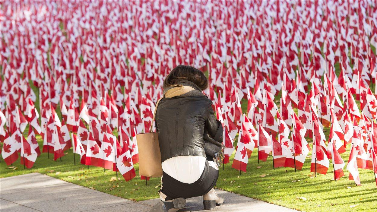 Des milliers d'unifoliés plantés devant la résidence Sunnybrook pour anciens combattants à Toronto