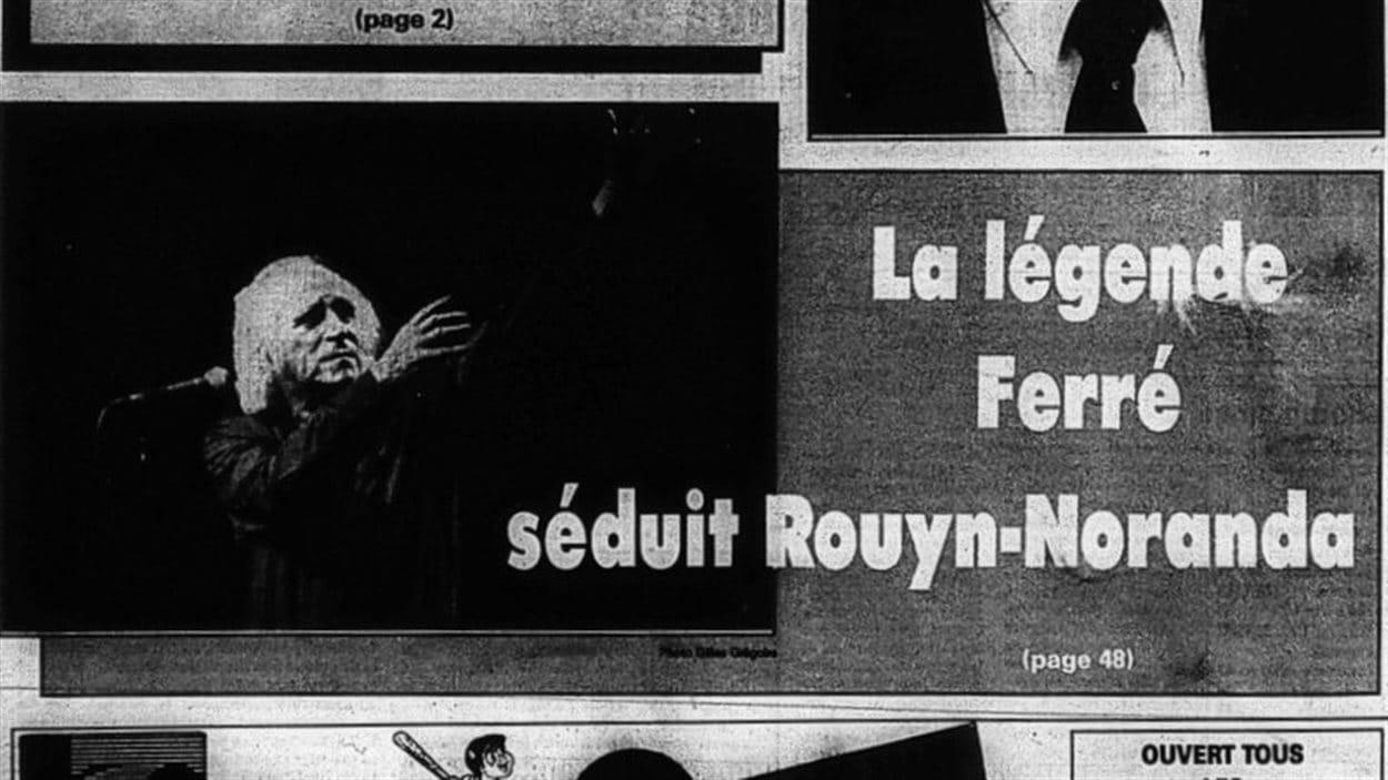 Première page du journal La Frontière suite au passage de Léo Ferré à Rouyn-Noranda