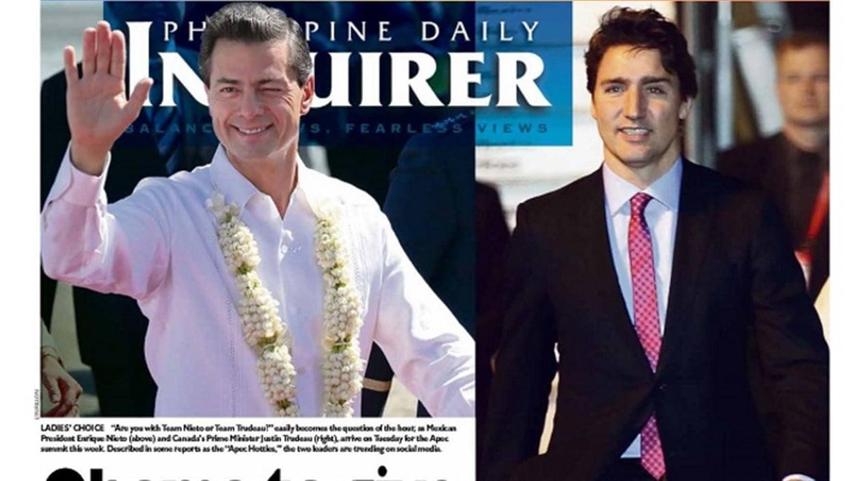 Le premier ministre du Canada, Justin Trudeau, à la une du quotidien Philippine Daily Inquirer.