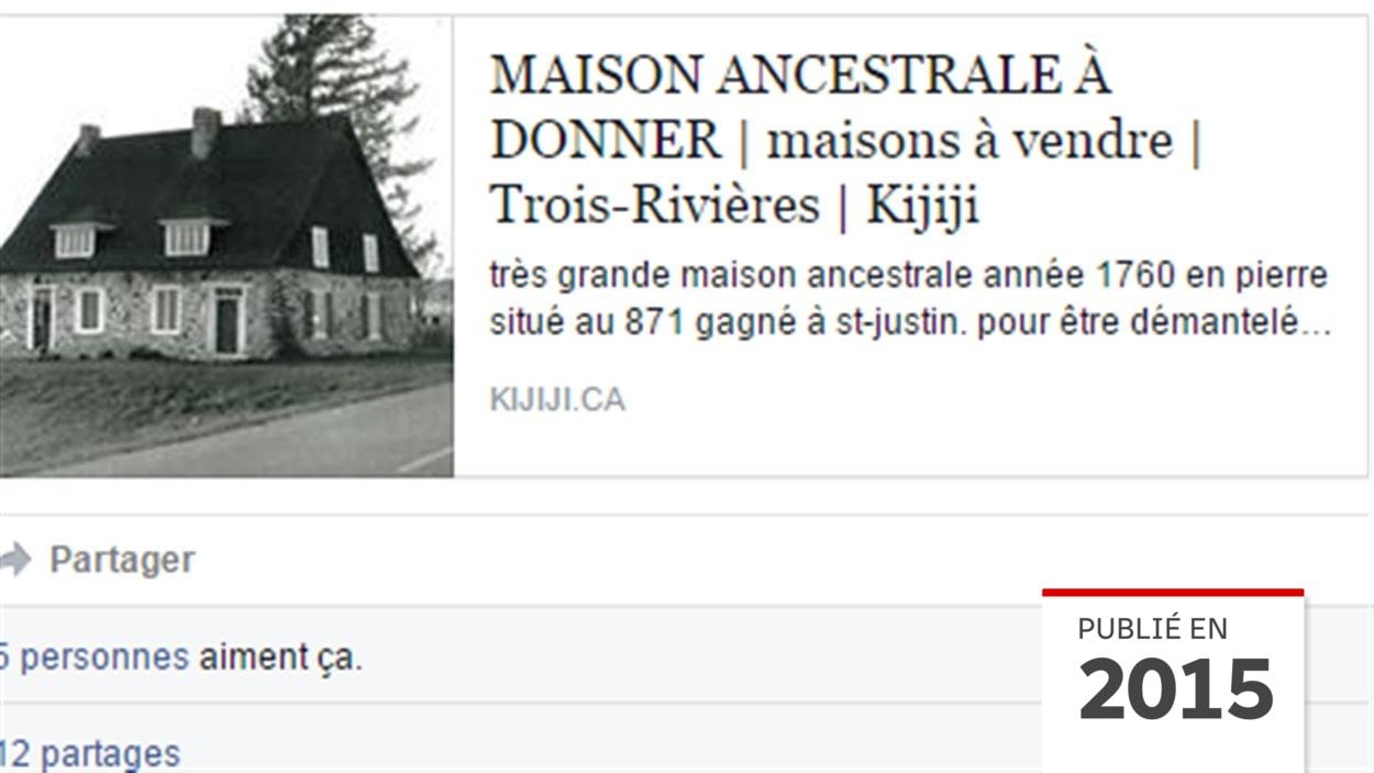 Maison Ancestrale A Donner A Saint Justin Le Proprietaire Submerge Par Les Demandes Radio Canada Ca