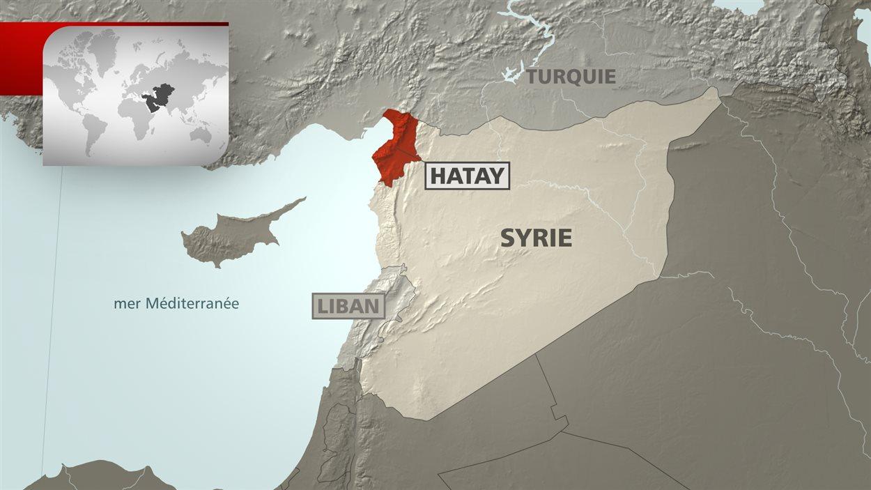 Carte géographique indiquant l'endroit où l'avion russe a été abattu
