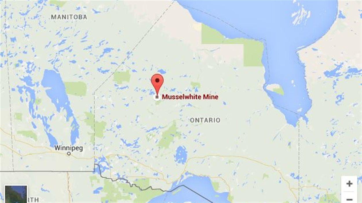 Emplacement de la mine d'or Musselwhite sur la carte.