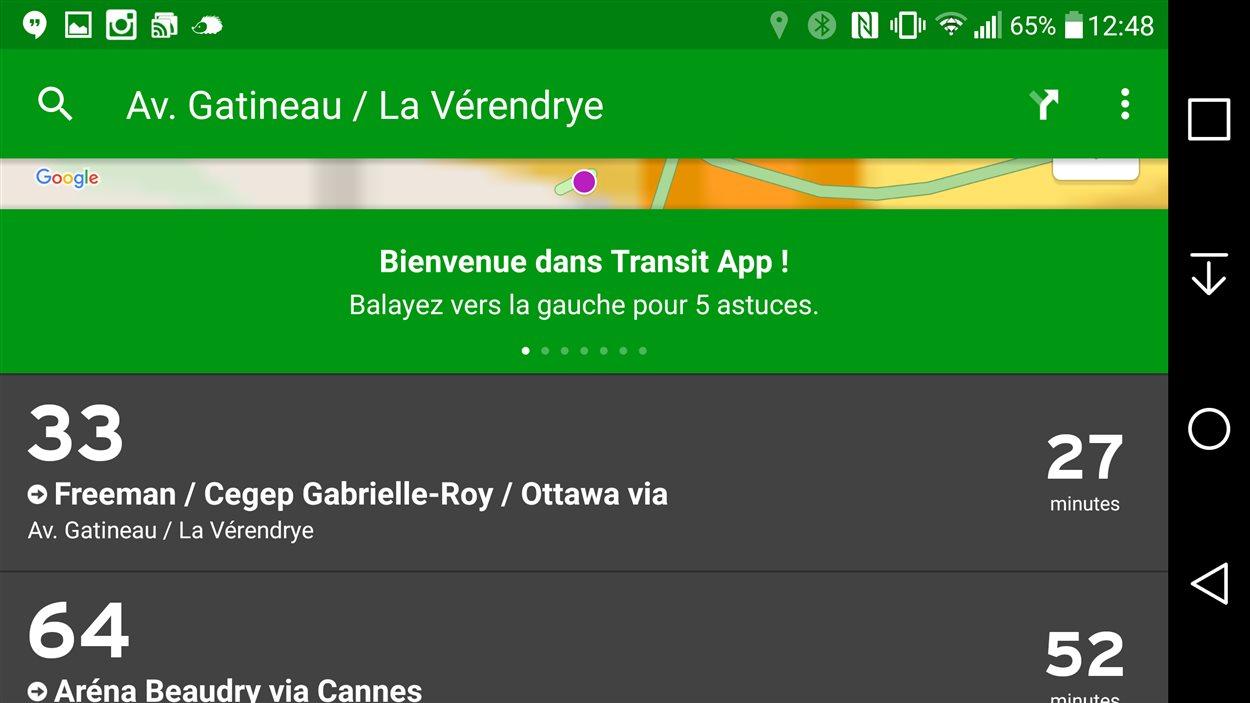 L'application Transit App permet désormais d'accéder aux horaires de la STO.