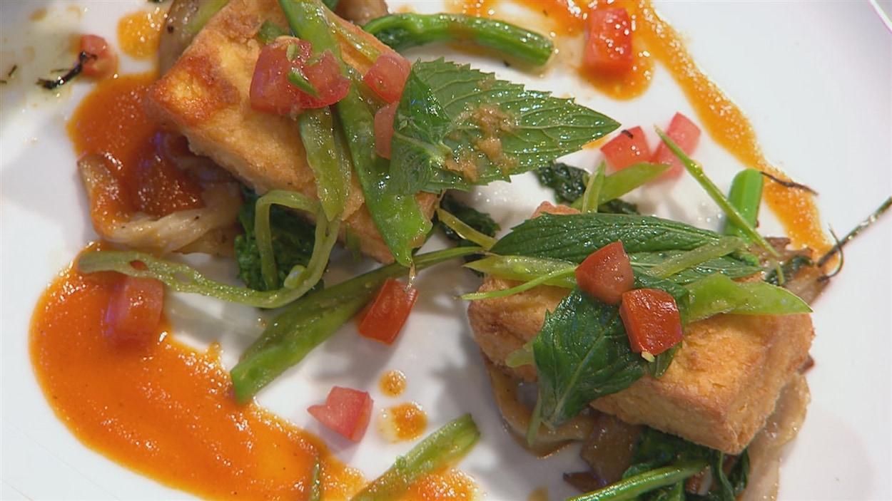 Tofu mariné frit
