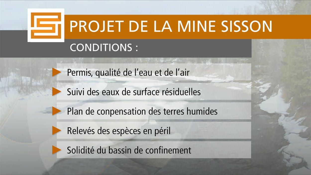 Conditions relatives à l'approbation de l'étude d'impact sur l'environnement du projet de la mine Sisson