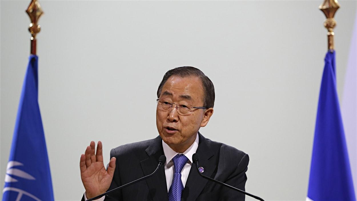 Le secrétaire général de l'ONU, Ban Ki-Moon, prononce un discours à la conférence de Paris, le 7 décembre 2015.