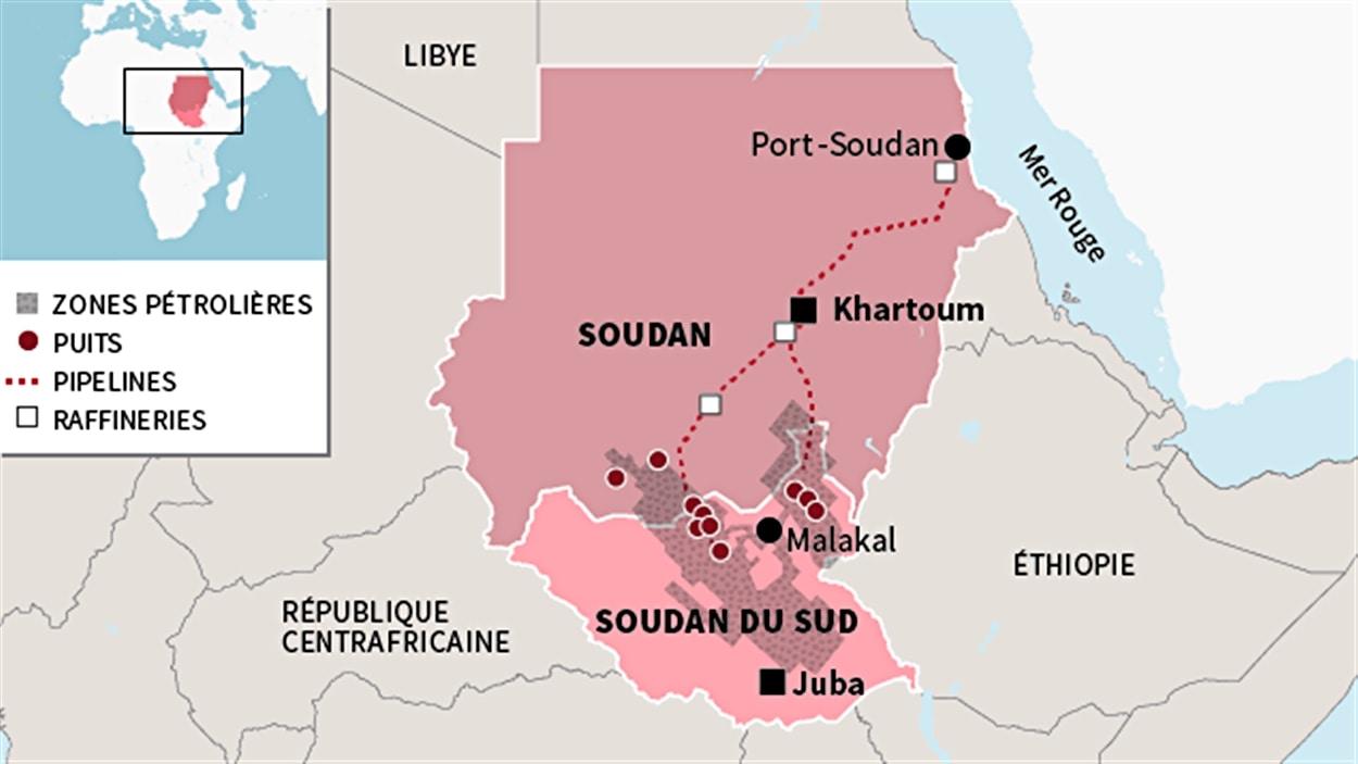 Carte du Soudan et du Soudan du Sud.