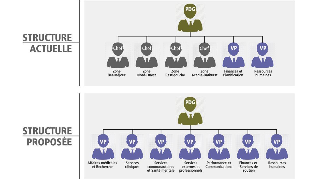 Shéma de la structure actuelle et proposée du Réseau de santé Vitalité