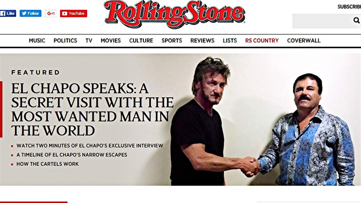 La une du site Internet du magazine Rolling Stone