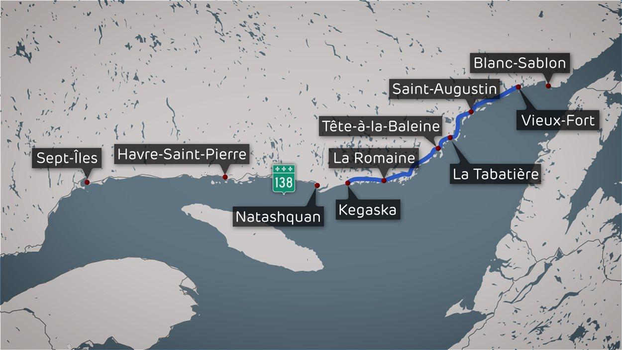 Route blanche, en Basse-Côte-Nord