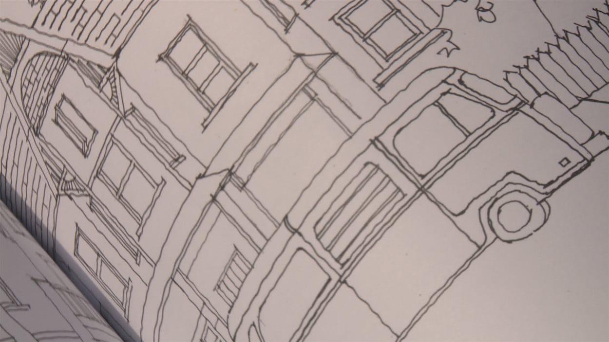 Une page du cahier à colorier sur le quartier torontois Kensington Market