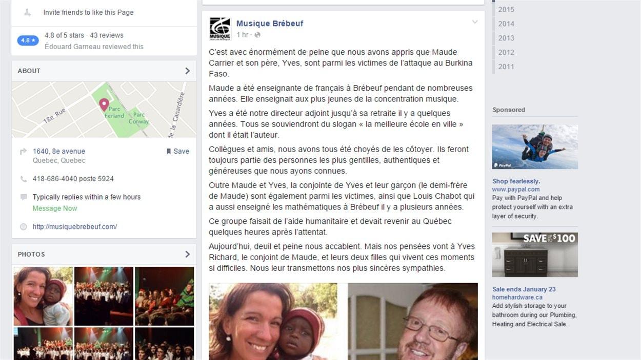 L'école Jean-de-Brébeuf  de Québec se dit endeuillée aujourd'hui, après la mort de deux ex-membres de son corps professoral