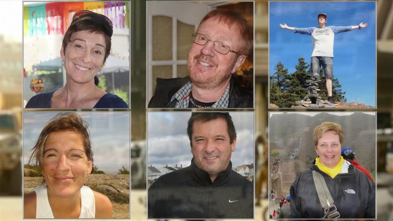 (De haut en bas) Gladys Chamberland, Yves Carrier, Charlelie Carrier, Maude Carrier, Louis Chabot et Suzanne Bernier.
