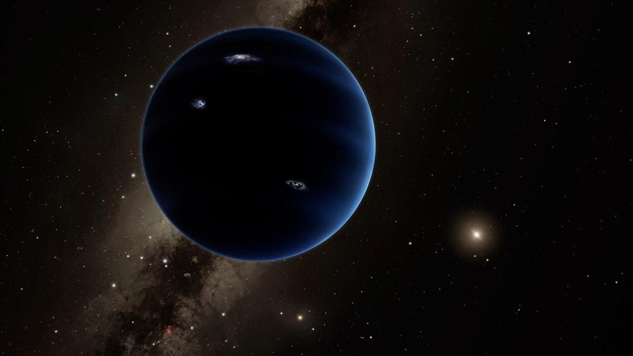 Représentation artistique de la neuvième planète, similaire à Neptune et Uranus