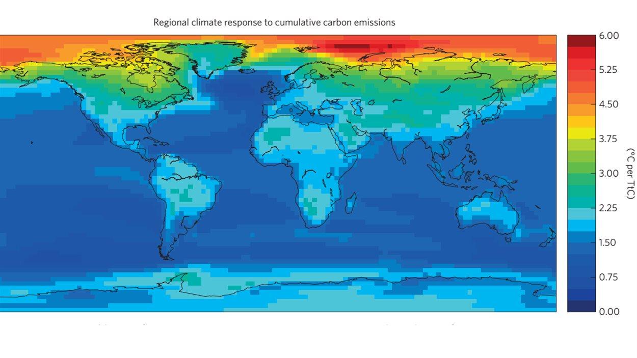 Carte montrant les hausses de températures, selon le modèle qui suppose une quantité deux fois plus grande de CO2 dans l'atmosphère sur un horizon de 20 ans. Les zones en rouge connaissent un réchauffement plus grand que la moyenne et celles en bleu foncé, un réchauffement moins important.