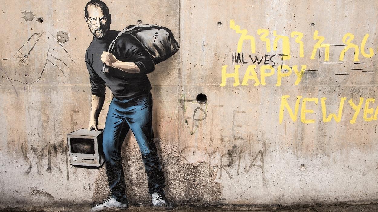 L'oeuvre de Banksy représentant Steve Jobs
