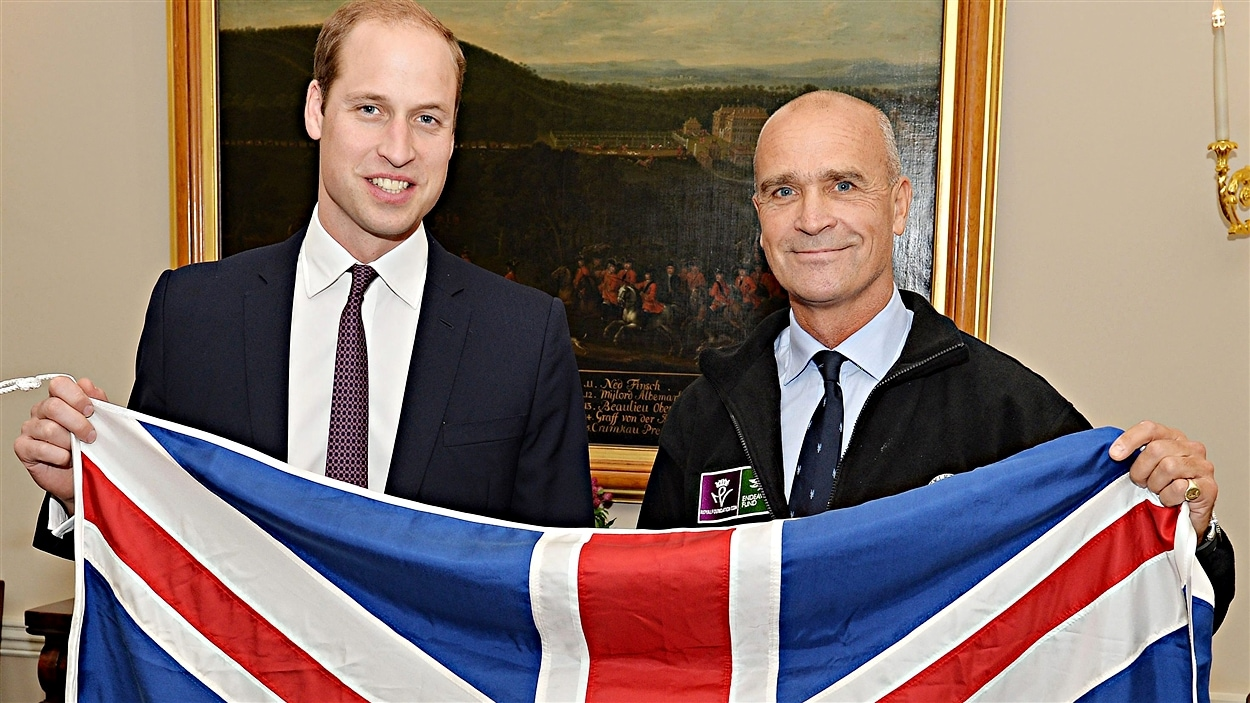 Henry Worsley (à droite) aux côtés du prince William le 19 octobre 2015