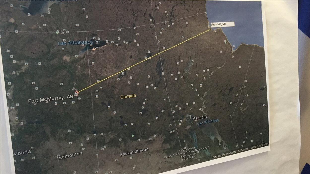 Le tracé proposé à TransCanada par le maire de Sainte-Anne-des-Plaines.