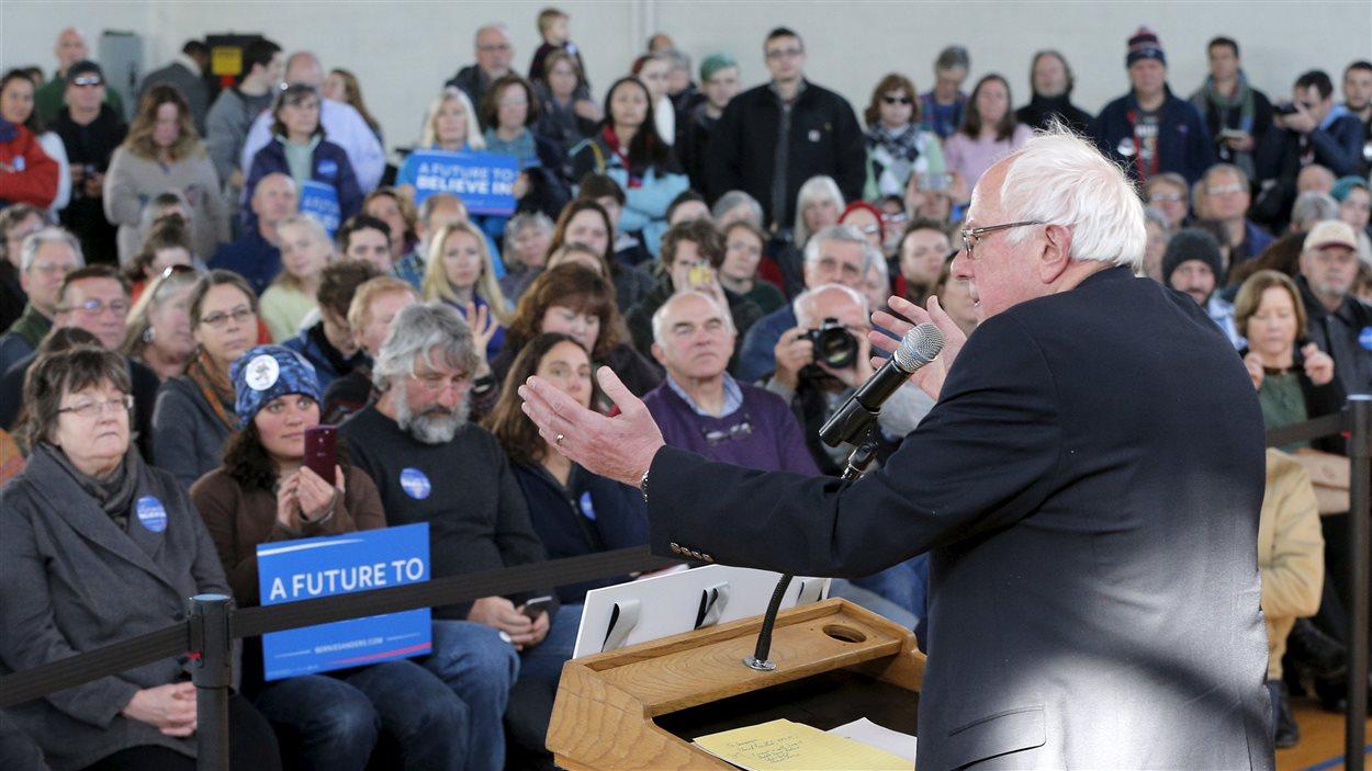 Bernie Sanders lors d'un rassemblement à Peterborough, au New Hampshire, le 21 janvier 2016