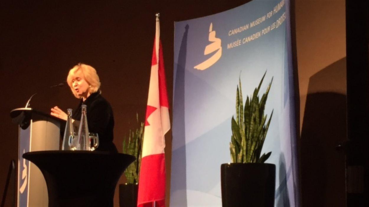 L'ancienne première ministre du Canada, Kim Campbell, à Winnipeg, le 27 janvier 2016