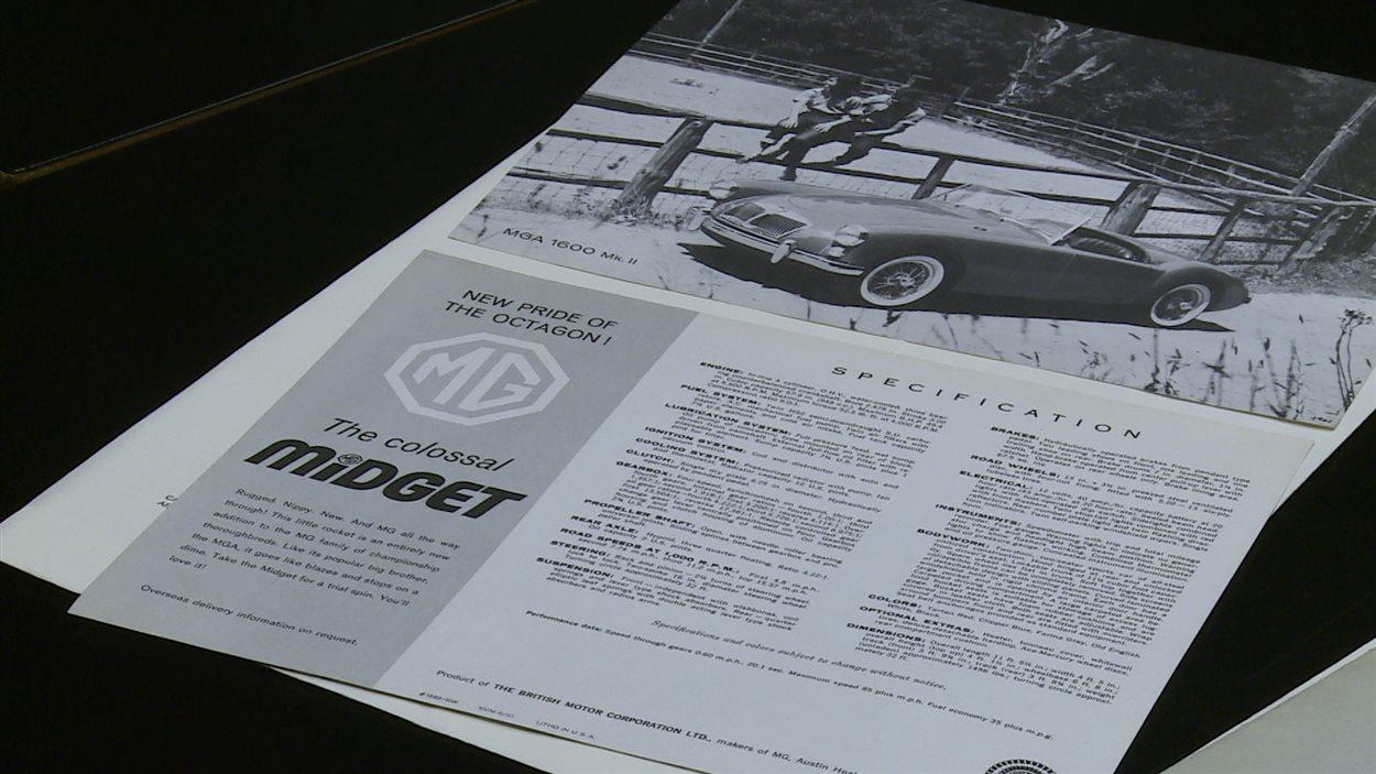Une ancienne brochure publicitaire de la MG MGA 1600