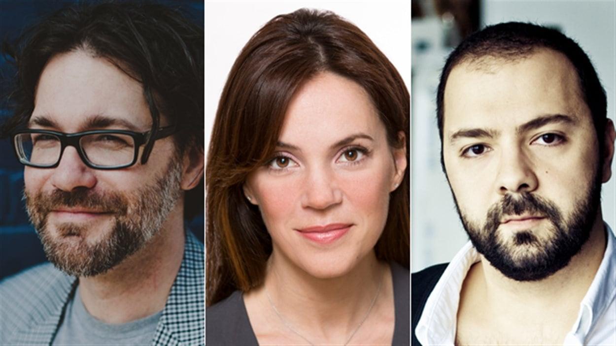 Les trois membres du jury du Prix du récit Radio-Canada 2016 : Maxime-Olivier Moutier, Geneviève Guérard et Mani Soleymanlou