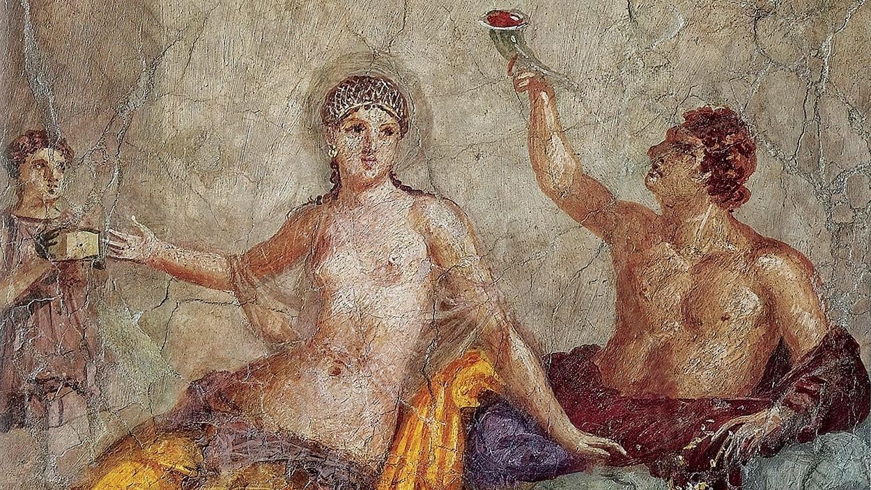 Fresque représentant une scène de banquet