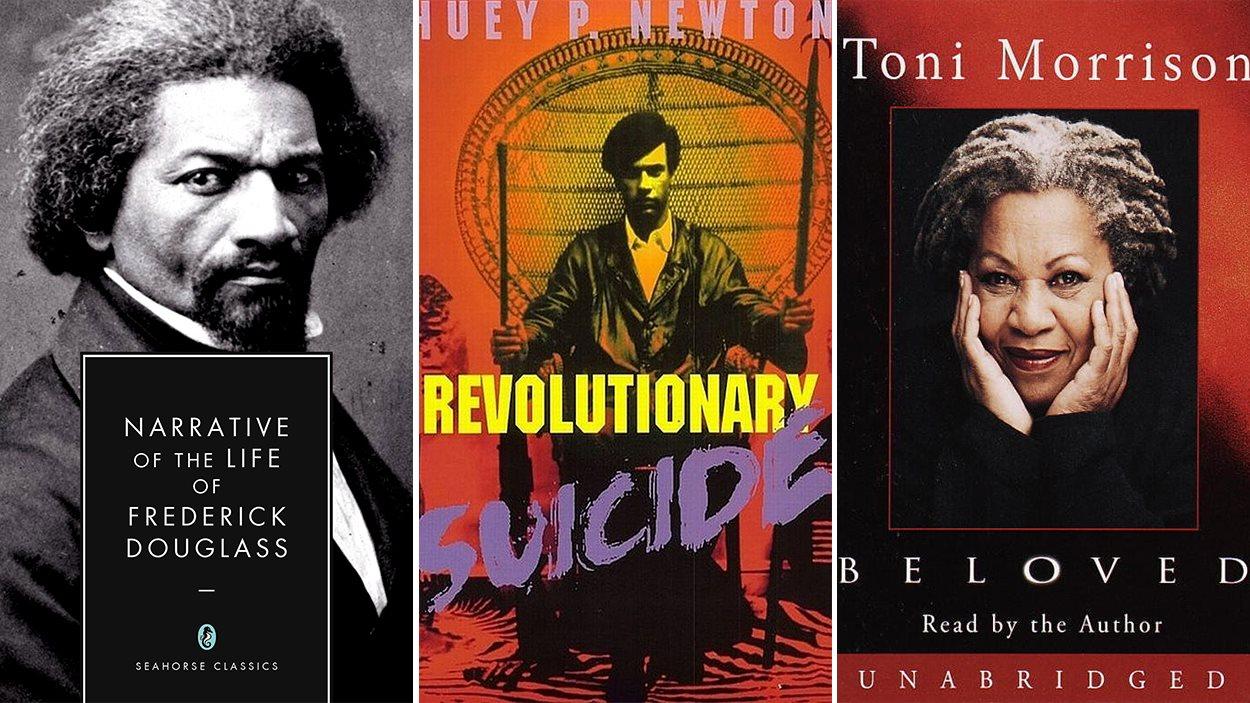 Les couvertures de «Narrative of the Life of Frederick Douglass», «Revolutionary Suicide» de Huey P. Newton et «Beloved» de Toni Morrison.