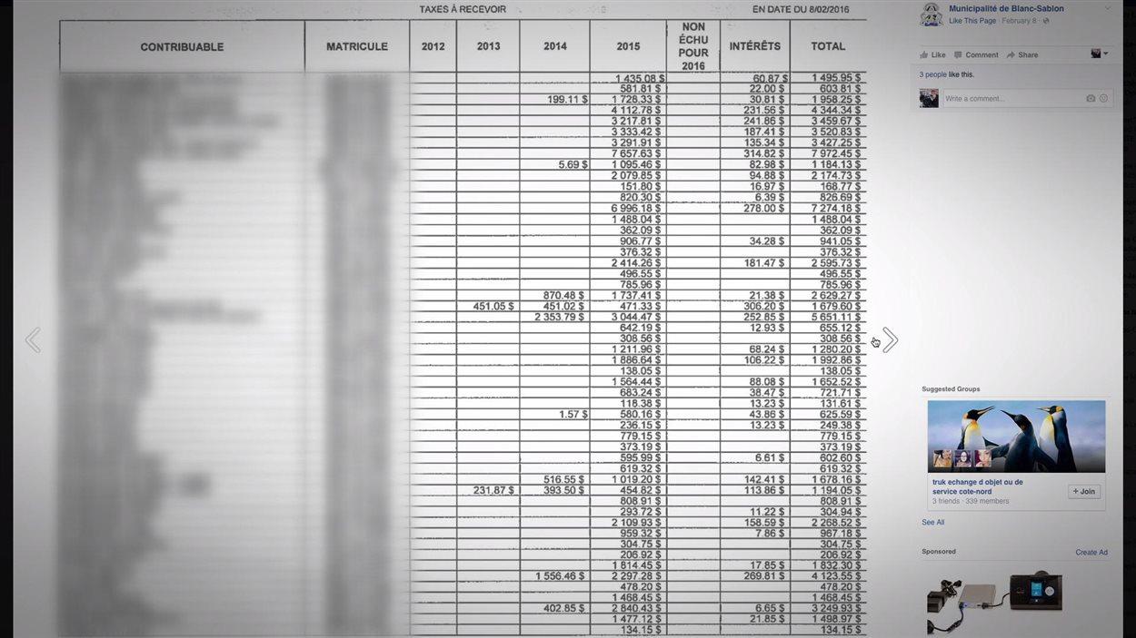 Voici le document qui a été rendu public sur Facebook. Les noms des contribuables ont été floutés.