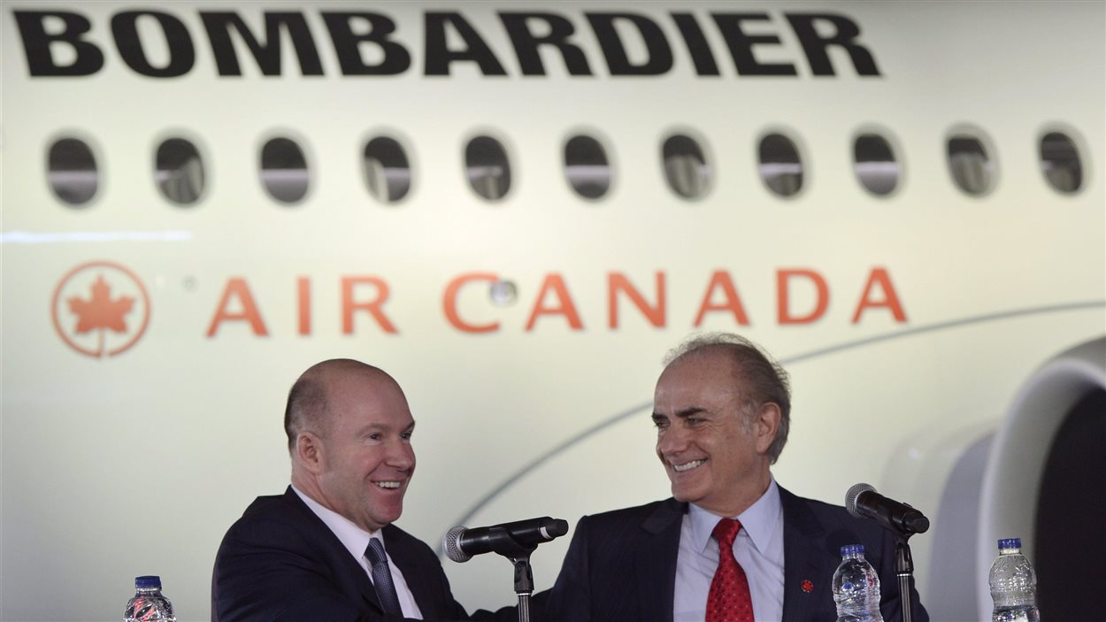 Alain Bellemare, PDG de Bombardier, en compagnie de Calin Rovinescu, PDG d'Air Canada