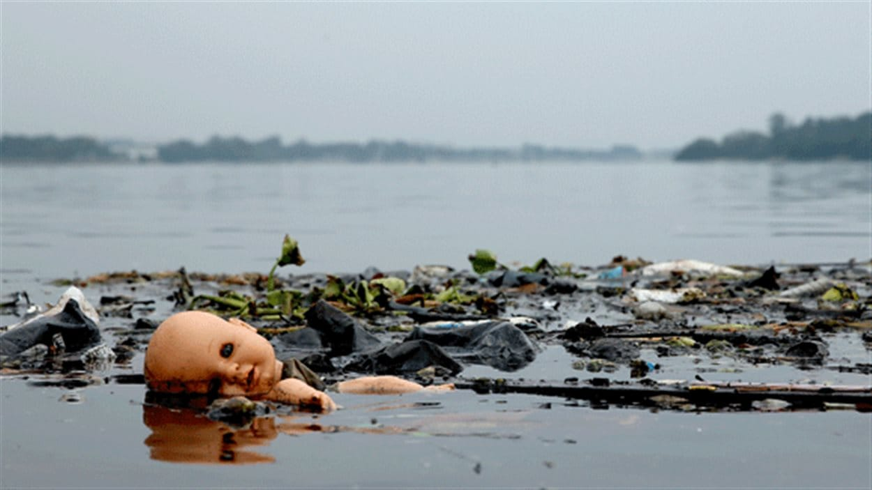 Des déchets dans la baie Guanabara à Rio de Janeiro