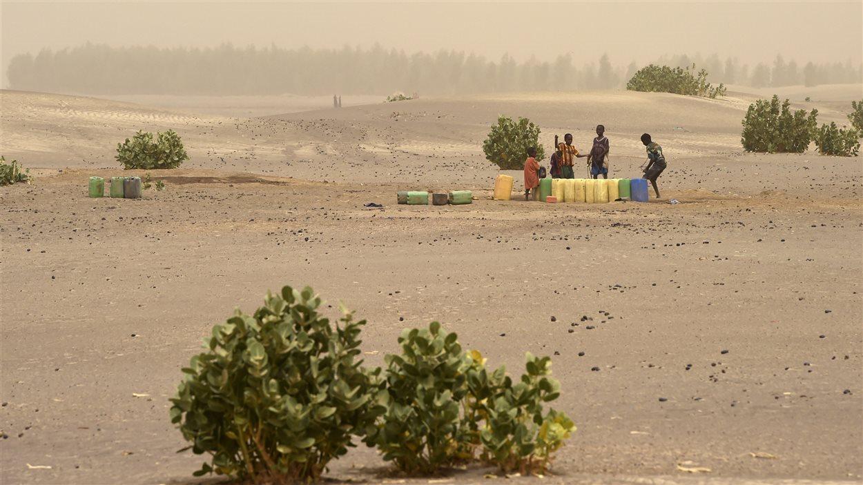 Des enfants puisent de l'eau d'un puits sur le site du lac asséché de Faguibine, près de Tombouctou, en Afrique.