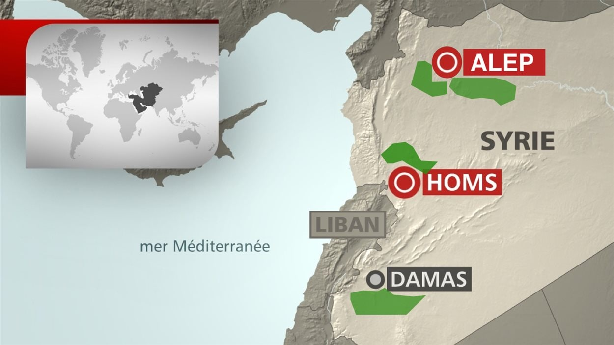 Les zones en vert représentent les zones où est appliqué le premier cessez-le-feu depuis cinq ans de guerre.