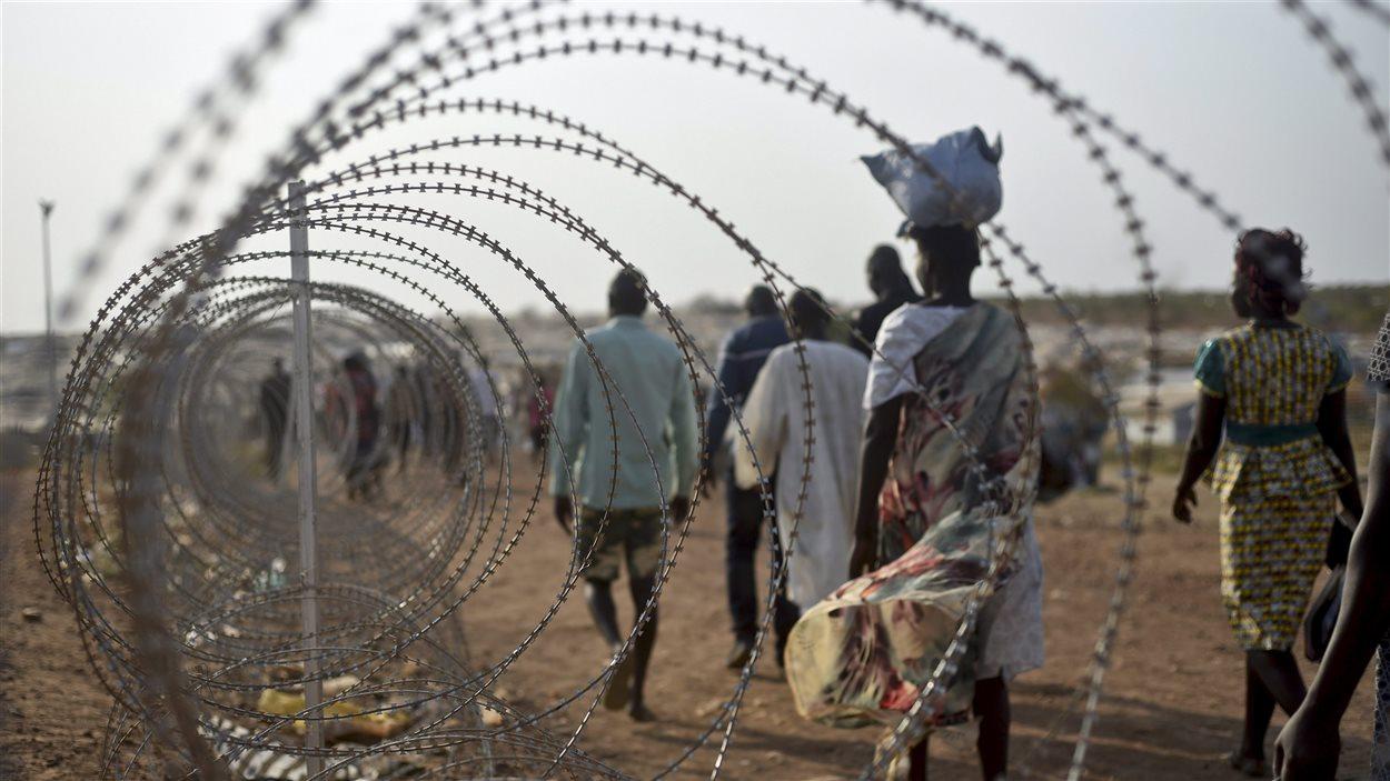 Des déplacés à la base de l'ONU dans la capitale du Soudan du Sud, Juba.