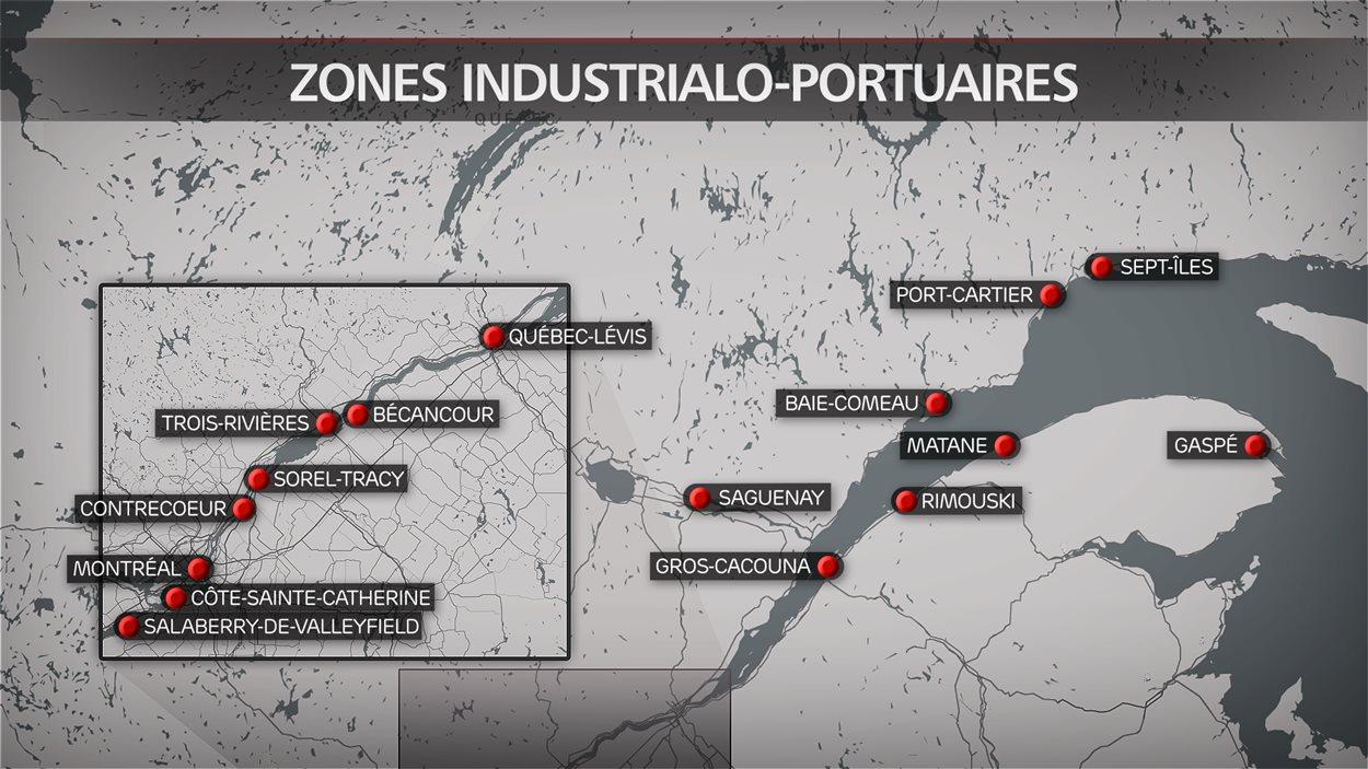 16 villes au Québec ont été désignées zones industrialo-portuaires.