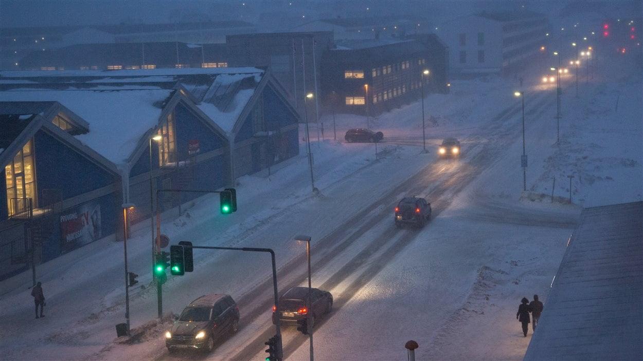 La tempête prévue a atteint Nuuk en fin d'après-midi vendredi.