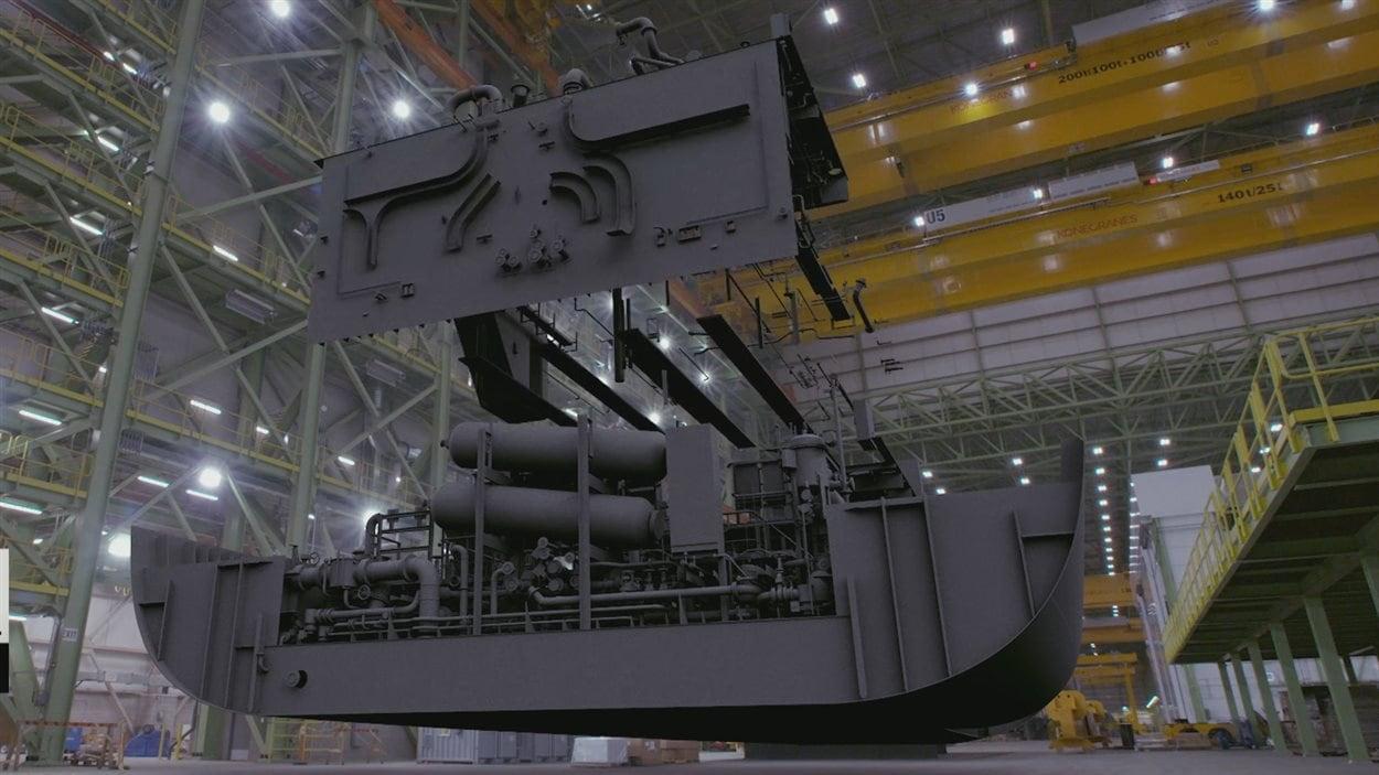 Un navire en construction au chantier naval Irving, à Halifax