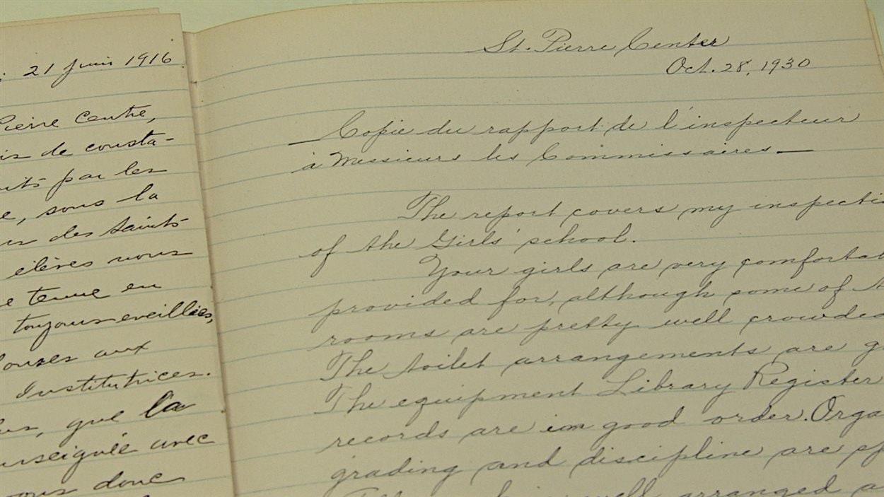 Le rapport des inspecteurs du ministère à Saint-Pierre-Jolys, sous la loi Thornton.