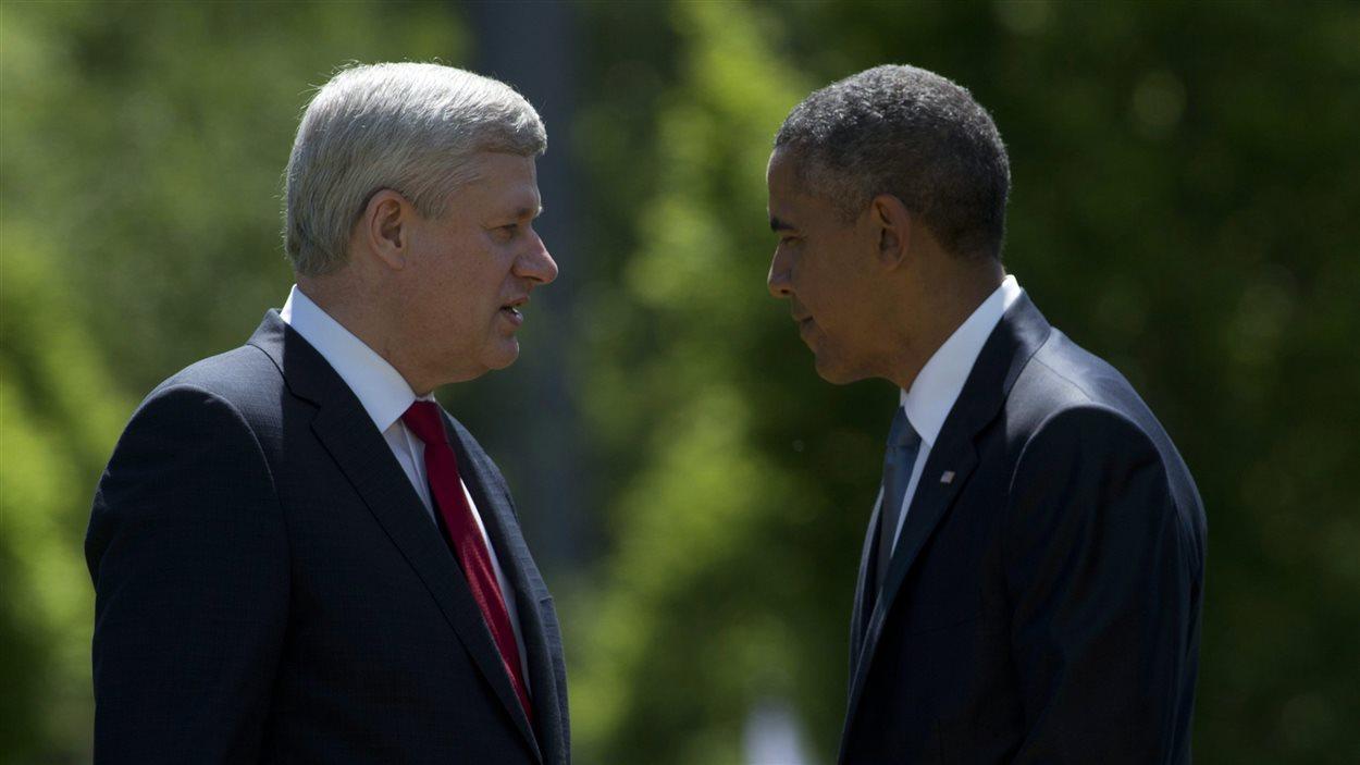 Stephen Harper et Barack Obama, au Sommet du G7 en Allemagne, en 2015.