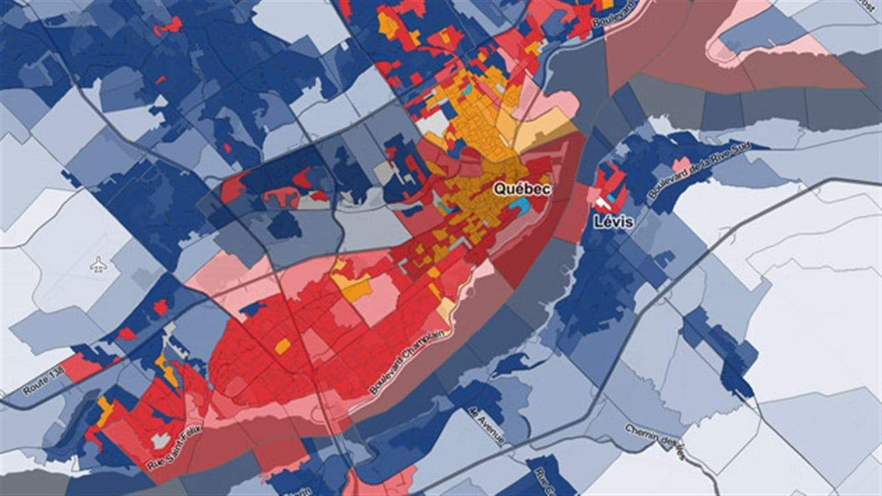 Les résultats des élections fédérales du 19 octobre 2015 par bureau de vote dans Québec