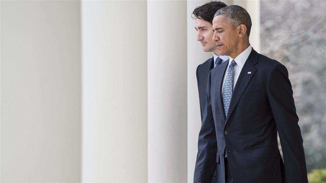Justin Trudeau, premier ministre du Canada et Barack Obama, président des États-Unis