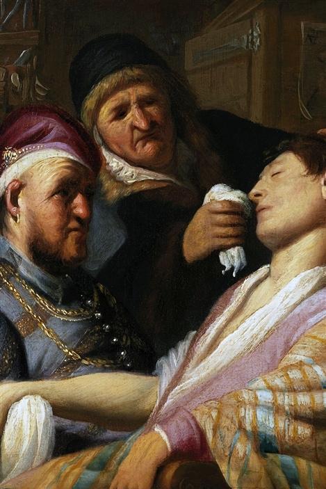 La toile «Le patient évanoui (sens de l'odorat)» de Rembrandt