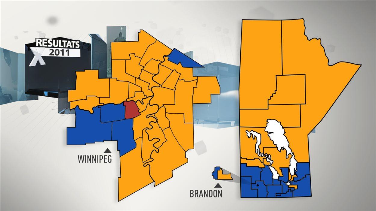 Les résultats des élections provinciales de 2011 au Manitoba.