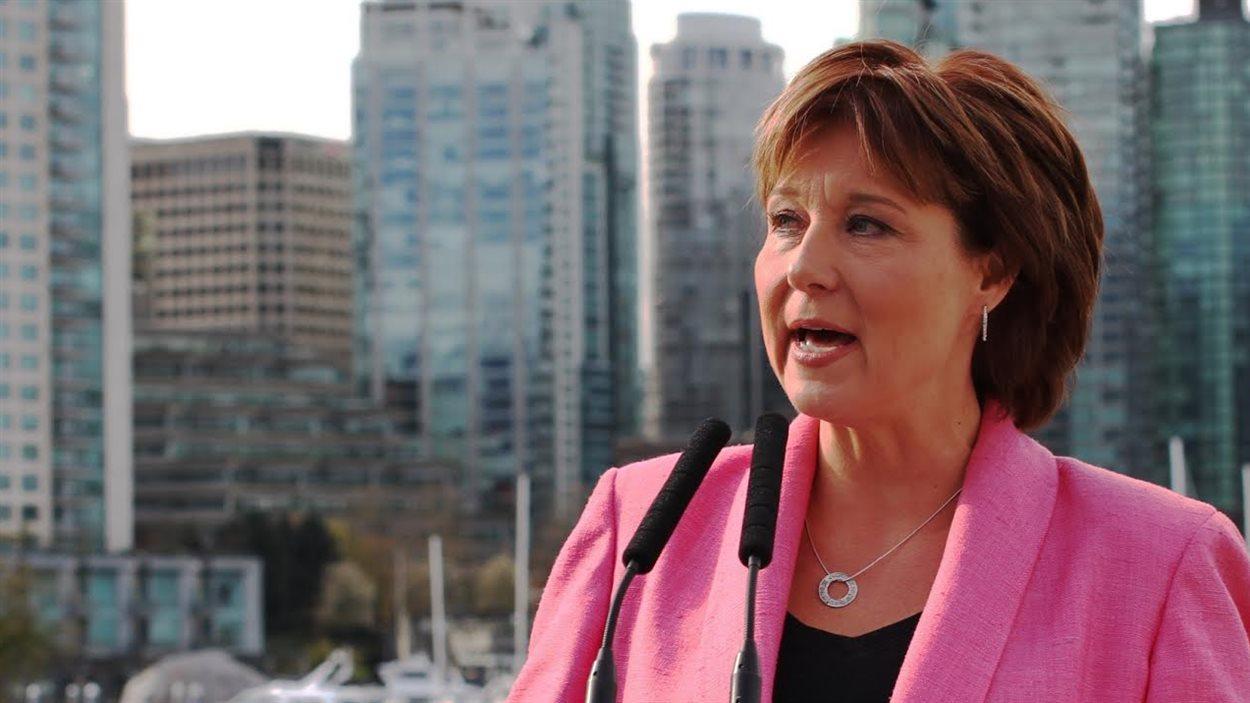 La première ministre Christy Clark à Vancouver