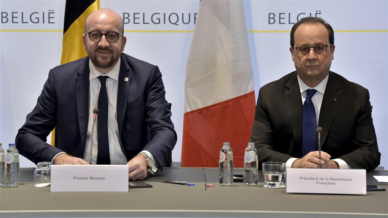 Le président François Hollande en compagnie du premier ministre belge Charles Michel